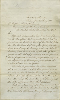 Historic Archive with Letter by President Franklin Pierce Ordering Arrest of an American Planning His Own Private War...