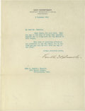 Autographs:U.S. Presidents, Poignant Franklin Roosevelt Typed Letter Signed Regarding theConclusion of WW I. Written on Navy Dept. letterhead (FDR was ...