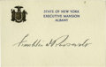 "Autographs:U.S. Presidents, Franklin D. Roosevelt ""Executive Mansion - Albany"" Signed Cards Alot of 3 mint Cards Signed, as governor, 5"" by 3.25"", ..."