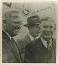 "Autographs:U.S. Presidents, Scarce Photograph Signed by Harry Truman and his Vice President,Alben Barkley. 8.0"" x 9.0"" black and white third generation..."
