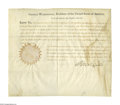 "Autographs:U.S. Presidents, George Washington Document Signed, as president, partially printed and accomplished in manuscript, ""G. Washington."" One ..."