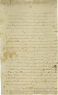 "Autographs:Military Figures, An Early Letter From Valley Forge Francis Barber (1751-1783) Autograph Letter Signed ""F. Barber"", two pages, 8"" x 13"", ""..."