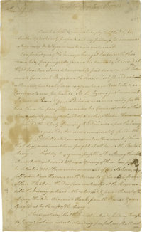 """An Early Letter From Valley Forge Francis Barber (1751-1783) Autograph Letter Signed """"F. Barber"""", two pages, 8..."""