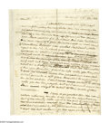 "Autographs:Statesmen, Financier Nicholas Biddle Autograph Letter Signed ""N. B."".Two pages, 8"" x 9.75"", Andalusia, October 22, 1822, to James ..."