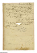 "Autographs:Statesmen, Declaration Signer Charles Carroll Autograph Letter Signed ""Ch.Carroll of Carrollton."" Two pages with integral address ..."