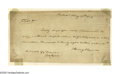 "Autographs:Statesmen, George Clymer Makes a Loan Document Signed, 1 page, 7.5"" by 4"",Philadelphia, May 17, 1803. In fine condition, albeit held a..."