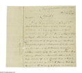 Autographs:Statesmen, Speculation leading to the first financial panic in New York.William Duer, (1747 - 1799) Signer of the Articles of Co...
