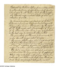 "Autographs:Statesmen, Declaration Signer William Ellery Autograph Manuscript Signed inthe third person. Three pages, 6.25"" x 7.5"", np, nd. A real..."
