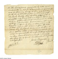 "Autographs:Statesmen, Declaration Signer William Floyd Document Signed ""Wm.Floyd"". One page, 8.25"" x 8.5"", manuscript, New York, April 3,178..."