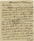 Autographs:Statesmen, Settling the 1790 Pennsylvania Constitution.. Edward Hand(1744-1802) American General during the Revolution, Autograph...