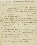 Autographs:Statesmen, General Edward Hand writes en route to suppress the Whiskey Rebellion. Edward Hand (1744-1802) American General during ...