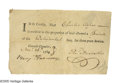 "Autographs:Statesmen, Declaration Signer Benjamin Harrison V Document Signed ""Benj.Harrison"". One page, 5.75"" x 3.5"", partly printed, [Philad..."