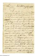 """Autographs:Military Figures, (American Revolution) Udney Hay, American officer in the Revolutionary War, curious Autograph Letter Signed """"Udney Hay"""" ..."""