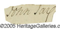 "Autographs:Statesmen, Continental Congress President John Jay Signature, a small clip1.75"" x .625"" laid down to a 5"" x 3"" card. If anyone can be ..."
