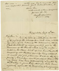 "Autographs:Statesmen, (Early Steamboats) Hugh T. Mercer, Two Autograph Letters Signed ""Hugh Mercer"", each two pages, 8"" x 10"", Fredericksburg,..."