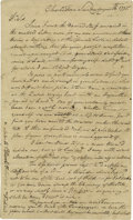 Autographs:Statesmen, Outstanding Content and Rare Arthur Middleton Letter Describing theEarly Days of the Revolution. Arthur Middleton (1742...