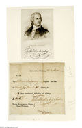 """Autographs:Statesmen, Frederick A. Muhlenberg, (1750-1801) first speaker of the House of Representatives, partly-printed Document Signed, """"Fredk..."""