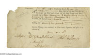"Declaration Signer Thomas Nelson Document Signed ""Thos. Nelson Jr."" One page, 8.25"" x 4"", Virginia..."