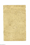 "Autographs:Statesmen, Declaration Signer Thomas Nelson, Jr. (1739-1789) Letter ClericallySigned Twice, ""Thos. Nelson Jur."" and ""T. N."", t..."