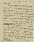 "Autographs:Statesmen, Describing Jefferson as the ""Moonshine philosopher of Monticello""Timothy Pickering (1745-1829) Autograph Letter signed ""T..."