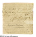 "Autographs:Statesmen, Declaration Signer Caesar Rodney Signature clipped from close ofdocument, 3.75"" x 4"", February 2, 1767. Rodney was not only..."
