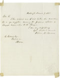 "Autographs:Statesmen, William Seward Writes About Expanding Telegraph Service to thePacific Autograph Letter Signed, as senator, 1 page, 8"" by 10..."