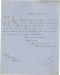 "Autographs:Statesmen, William H. Seward Writes About His Son Wanting to Start a New Job-- Early! Autograph Letter Signed 1 page, 7.5"" by 10"", A..."