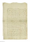 """Autographs:Statesmen, Declaration Signer James Smith Document Signed Twice """"Ja:Smith"""". Two pages with docketing on verso of integral leaf,11..."""