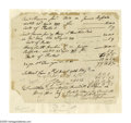 "Autographs:Statesmen, Declaration Signer Thomas Stone Document Signed ""T. Stone"".One page, 7.5"" x 6.25"", np, April 23, 1777, an itemized rece..."