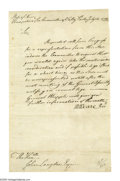 "Autographs:Statesmen, Meshech Weare Letter on New Hampshire's Representation in theContinental Congress. Letter Signed ""M. Weare, Prest."",as..."