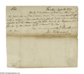 "Autographs:Statesmen, Declaration Signer John Witherspoon Autograph Letter Signed ""JnoWitherspoon"". One page, 7.75"" x 6.75"", Tusculum [Prince..."