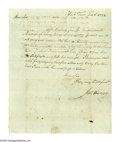 Autographs:Statesmen, Declaration Signed George Wythe Autograph Endorsement Signed in the third person on the verso of a document. Two pages, York...