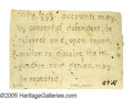"Autographs:Statesmen, Declaration Signer George Wythe Autograph Endorsement. One partialpage removed from document, 3"" x 2.25"", np, May, 1799. In..."