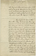 Military & Patriotic:Indian Wars, A French Spy's Report on America Intercepted by Britain in 1756. (French and Indian War) manuscript Letter, three pag...