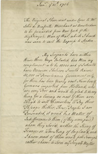 A French Spy's Report on America Intercepted by Britain in 1756  (French and Indian War) manuscript Letter, three pag