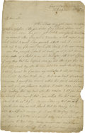 Autographs:Military Figures, A Rare Account of Battle of Germantown by a British Officer.. (Battle of Germantown) Partial Autograph Letter by an unkno...