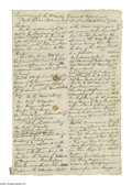 "Autographs:Military Figures, Regulations of the Quarter Master General's Department 1782 Contemporary Manuscript Document, 3p, 9.25"" x 13.75"". Headed: """