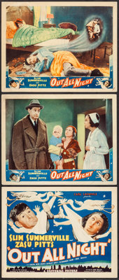 "Out All Night (Universal, 1933). Title Lobby Card & Lobby Cards (2) (11"" X 14""). Comedy. ... (Total: 3..."