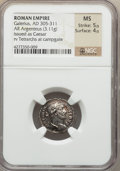 Ancients:Roman Imperial, Ancients: Galerius, as Caesar (AD 305-311). AR argenteus (3.11gm)....