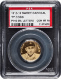Baseball Cards:Singles (Pre-1930), 1909-12 P2 Sweet Caporal Pin Ty Cobb, Small Letters PSA Gem MT 10 - Pop One! ...