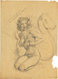 Pin-up and Glamour Art, Gil Elvgren (American, 1914-1980). Fit to be Tied, Brown andBigelow preliminary, circa 1956. Pencil on vellum. 20 x 15 ...