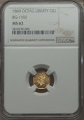 California Fractional Gold , 1860 $1 Liberty Octagonal 1 Dollar, BG-1102, R.4, MS62 NGC. NGCCensus: (9/8). PCGS Population (25/33). ...
