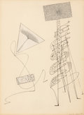 Fine Art - Work on Paper:Drawing, Max Ernst (1891-1976). Ohne Titel, 1949. Pen and ink andcollage on paper. 10-3/4 x 8 inches (27.3 x 20.3 cm) (sight). S...