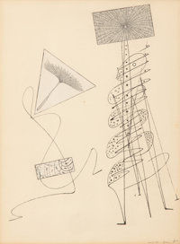 Max Ernst (1891-1976) Ohne Titel, 1949 Pen and ink and collage on paper 10-3/4 x 8 inches (27.3 x