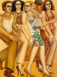 Lester F. Johnson (1919-2010) City Dwellers Oil on canvas 80 x 60 inches (203.2 x 152.4 cm) Si