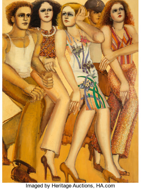 Lester F. Johnson (1919-2010) City Dwellers Oil on canvas 80 x 60 inches (203.2 x 152.4 cm) Signed lower right: Le...