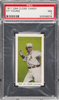 "Baseball Cards:Singles (Pre-1930), 1911 E94 Close Candy ""Old"" Cy Young (Olive) PSA NM 7 - Pop Two,None Higher...."
