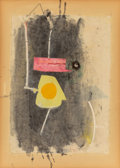Post-War & Contemporary:Contemporary, Robert Motherwell (1915-1991). Pierrot's Hat, 1943.Watercolor, gouache, pasted papers, pasted glass button, and ink on...