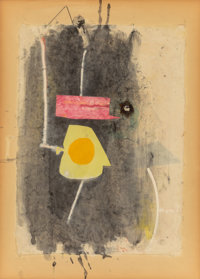 Robert Motherwell (1915-1991) Pierrot's Hat, 1943 Watercolor, gouache, pasted papers, pasted glass b