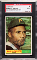 Autographs:Sports Cards, Signed 1961 Topps Roberto Clemente #388 SGC Authentic. ...